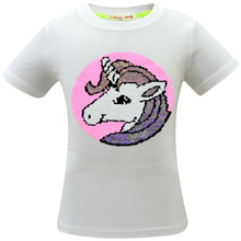 New Unicorn girls short-sleeved double-sided sequins pattern childrens cotton casual T-shirt