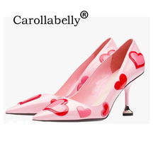 Carollabelly Heart Pink Shoes Women Colourful Pumps Pointed Toe Sweet High