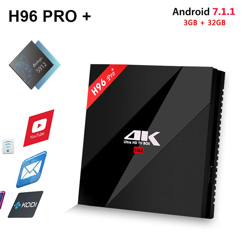 H96 Pro+ Android 7.1 TV Box 3G/32G Amlogic S912 Octa Core 64Bit 2.4G/5G Wifi 4K BT4.1 HD Media Player Set Top Box