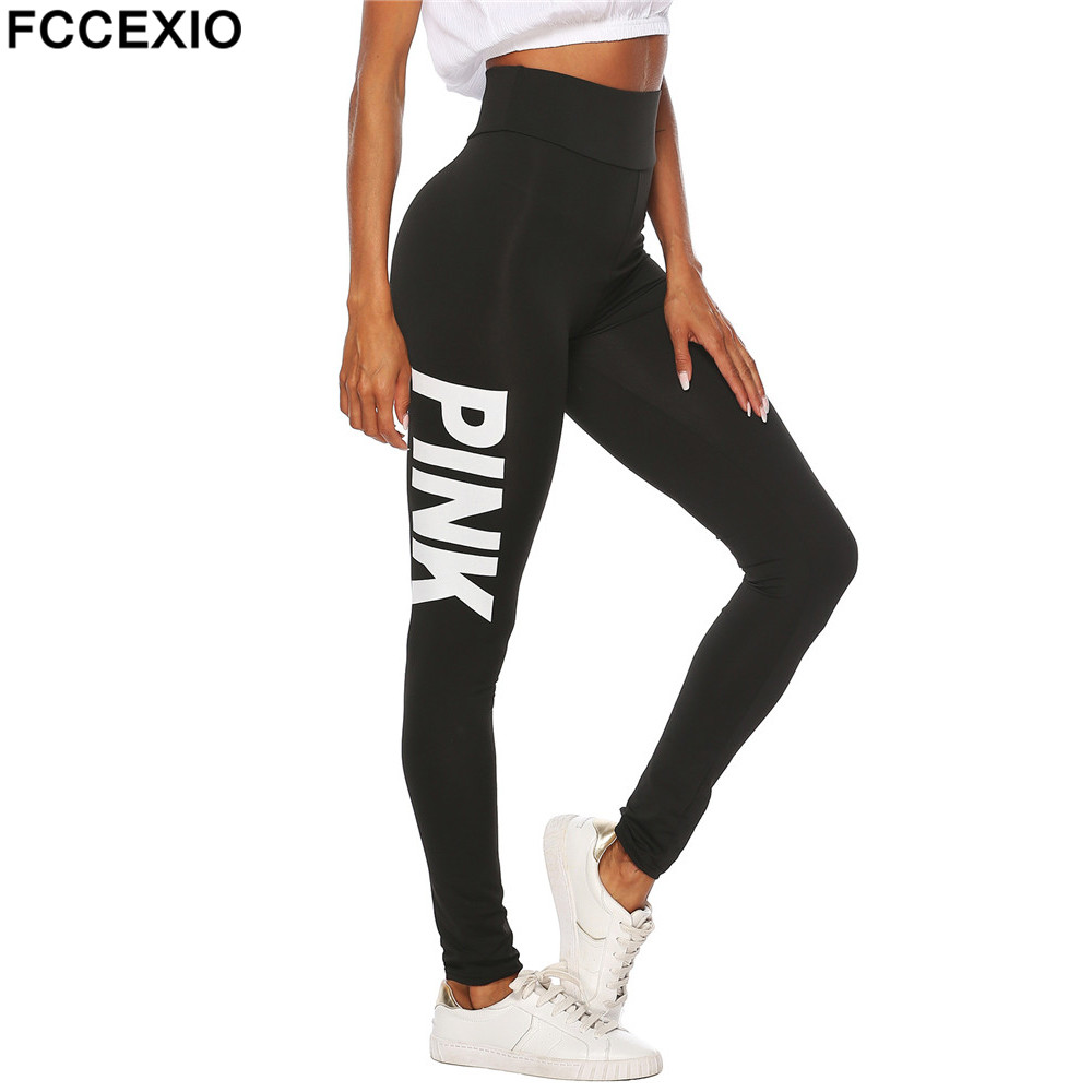 FCCEXIO Women New High Waist Slim Pink   Legging   Women Love Pink Letter Print Workout   Leggings   Sporting Slim Fitness   Leggings