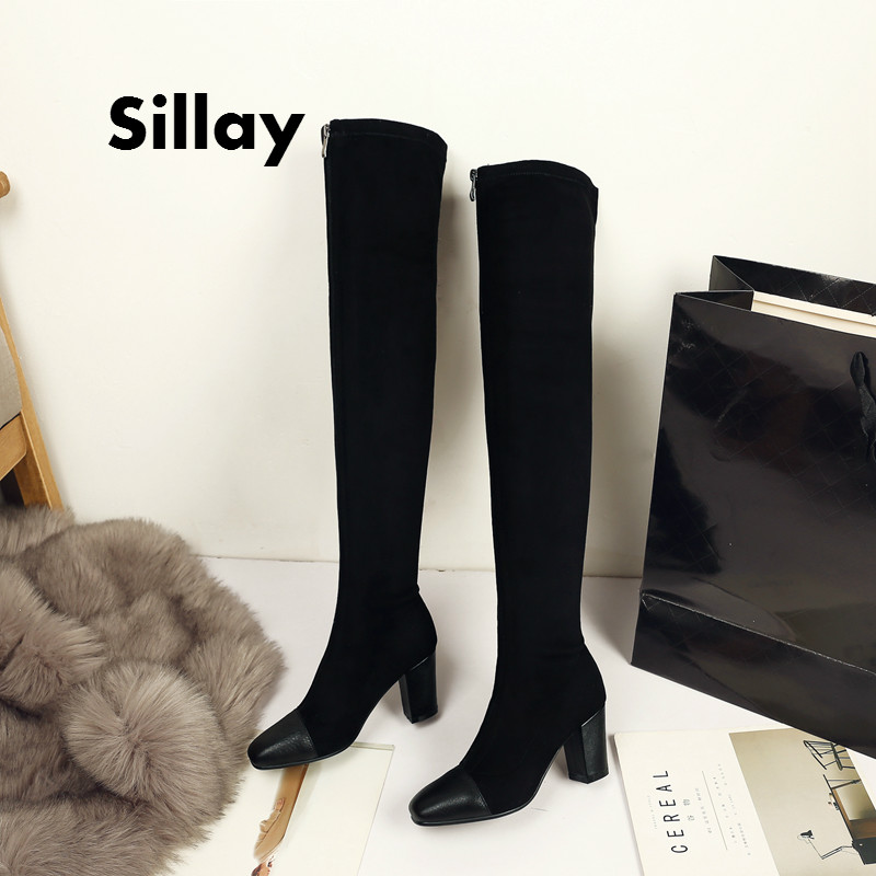2017 Women Boots Sexy Super Warm Zipper Fashion Winter Shoes Square High Heel Round Toe Lace Up Over The Knee Boots Size 34-39