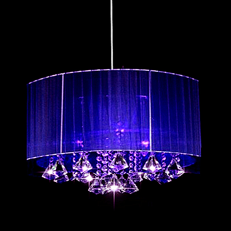 Ovale moderne Simple mode salon Chambre led lustre lumière Pendentif Lumières Brossé tissu abat-jour k9 cristal luminaria