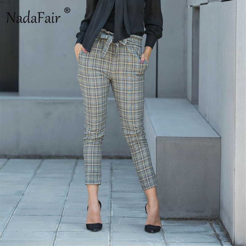 Nadafair OL Office Belted Pocket Plaid Pencil Pants Women England Style Elastic Waist Trousers Ankle-Length Capris Pants Femme pocket