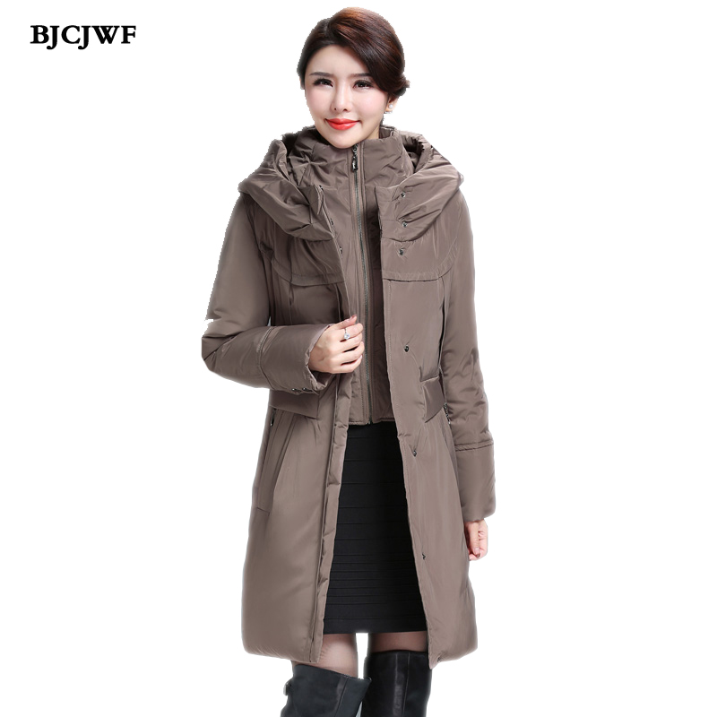 BJCJWF Women 2017 Winter 90% White Duck   Down     Coat   Hooded Russia Female Parkas Fashion Long Jacket thickening warm Plus size   down