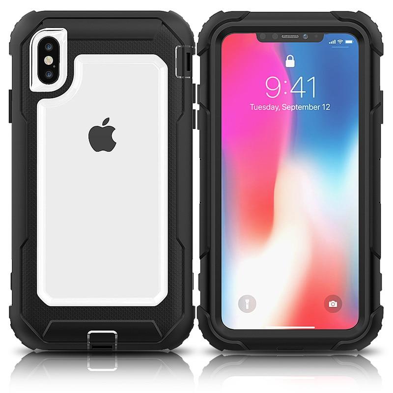 Híbrido TPU + PC Tampa transparente para o iphone 7 6 s 8 6 Plus Caso À Prova de Choque Impacto Proteção de Corpo Inteiro para o iphone X XS Max XR Capa