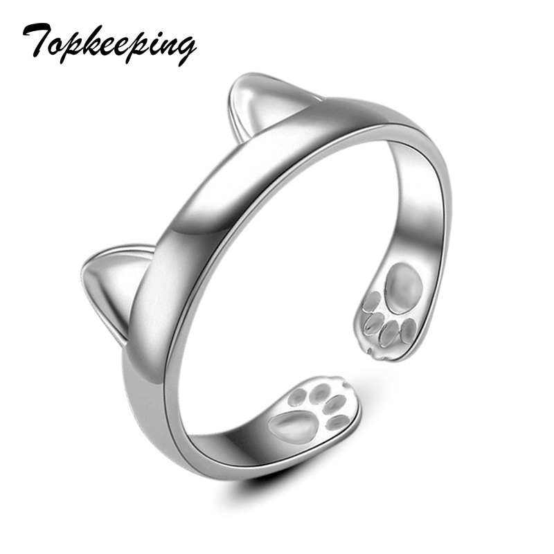 Topkeeping Brand Cute Cat Ear Metal Popular jewelry Stainless Steel Ring Women Outdoor Self-defense Finger Ring For Girls titanium ring