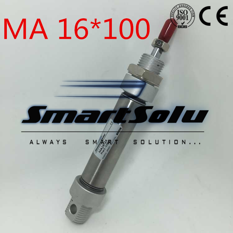 Free Shipping MA Series Double Acting 16MM Bore 100MM Stroke Stainless Air Mini Cylinder , 16x100 Pneumatic Round Cylinders su63 100 s airtac air cylinder pneumatic component air tools su series