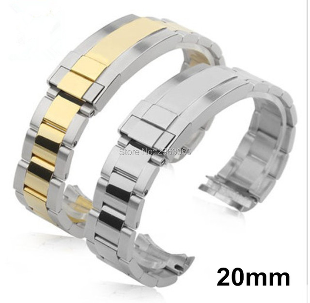High quality 20mm Silver/2 tone Stainless Steel Watch Band Solid Band Bracelet with Oyster Lock For RX watch Free Shipping Men