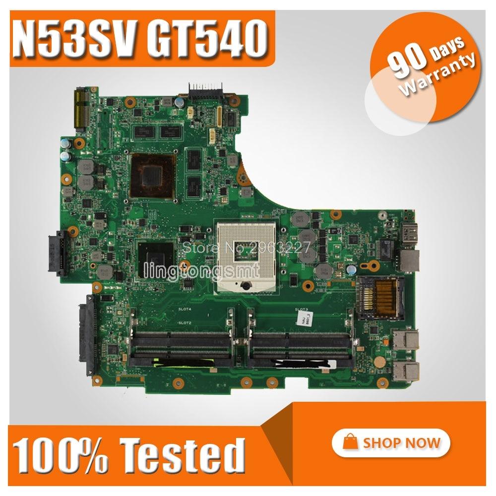 FOR ASUS N53SV N53SN N53SM motherboard N53SV Mainboard GT540 4 RAM Solts REV 2.2, 2.0 tested ok laptop motherboard n53sv n53sn for asus n53s n53sn n53sm with geforce gt550m 2g ddr3 4 ram solts rev2 0 2 2 tested ok