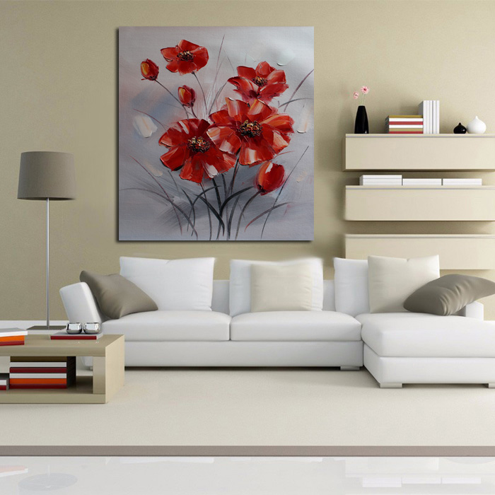 New Decorative Oil Paintings Wall Picture New Simple Red Flowers