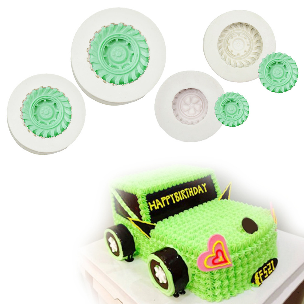 Cake Pan Tires Wheel Shape Silicone Soap Mold 1PC Fondant Cake Decorating Tools Kitchen Chocolate DIY Molds Baking Forms