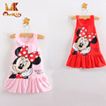 Monkids 2017 Summer Style Baby Girls Dresses Kids Lovely Cartoon Sleeveless Princess Mini Dresses Kids Girls Clothing