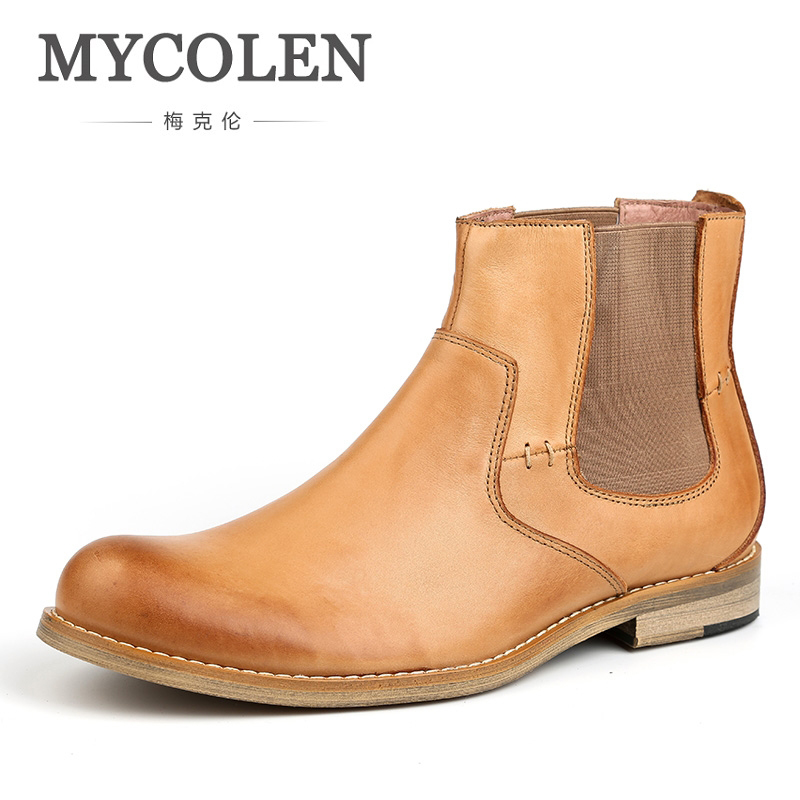 MYCOLEN High Quality Mens Leather Ankle Boots New Winter Slip On Chelsea Boots British Retro Man Footwear Casual Shoes mycolen brand new chelsea boots british style fashion comfortable male thick soles ankle boots slip on casual shoes botas hombre