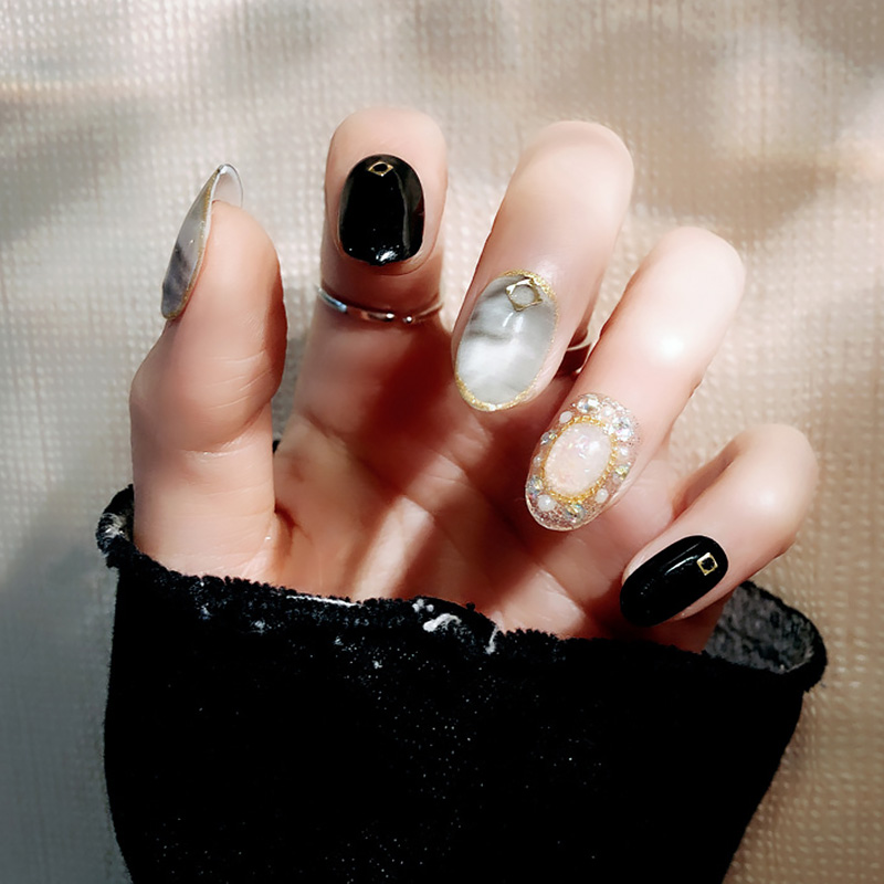 Ladies Sexy Punk Style Fake Nail Women Marble Glitter Faux Pearl False Nails Korean Style Round Head Nail Art Tools With Glue