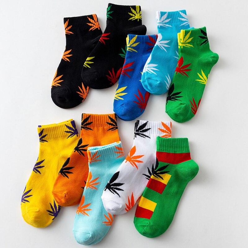 30 Colors 1 Pair Fashion Women Weed   Socks   Cotton Harajuku Skateboard Leaf Print Hip Hop Casual Crew   Socks