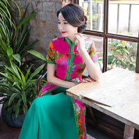 New Style Women Long Qipao Chinese Traditional Elegant Vintage Dresses Two Sets Print Oriental Dresses Cheongsam