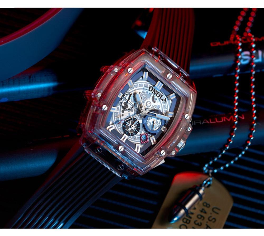 HTB1XJOmXEY1gK0jSZFCq6AwqXXa1 luxury mens wristwatches Transparent quartz waterproof Multifunction man watches square white fashion clocks