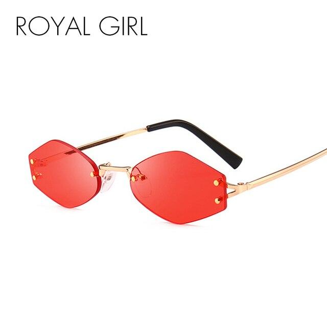 4922a611c2 ROYAL GIRL Vintage Rimless Sunglasses Women 2018 Brand Designer Small Oval  Eyewear Men Rivet Black Red Sun Glasses Female ss685