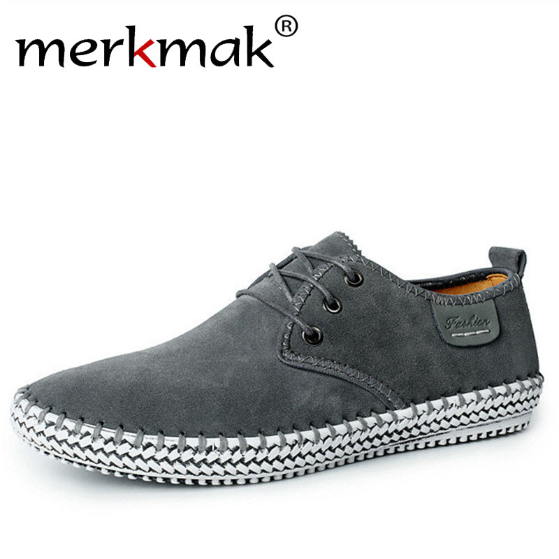 Merkmak Brand Handmade 100% Genuine Suede Leather Men Casual Shoes Reto Formal Leisure Dress Flat Oxfords Shoes Size 48