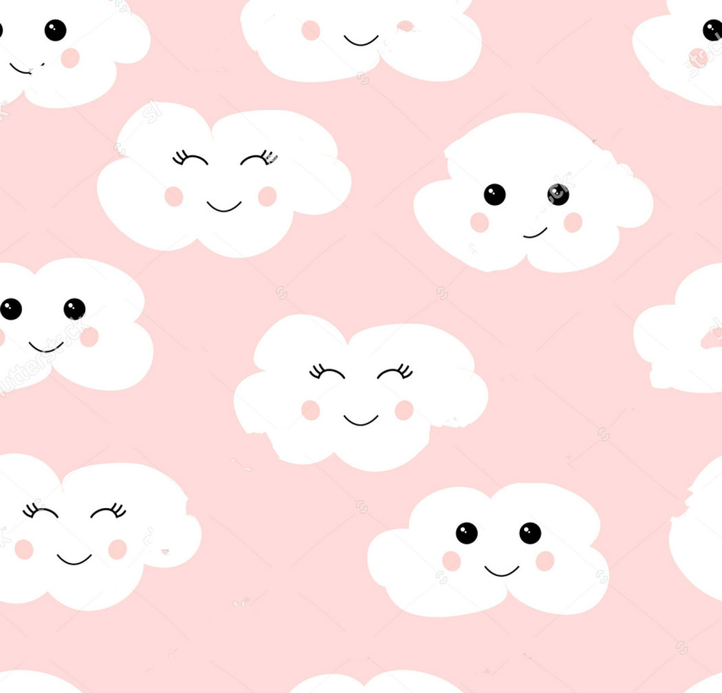 happy cloud cute White pink backdrop Vinyl cloth High quality Computer print wall background