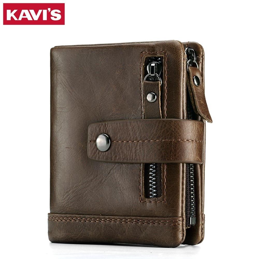 KAVIS Genuine Leather Wallet Men PORTFOLIO MAN Male Small Portomonee Vallet With Coin Purse Pockets Slim Rfid Fashion Mini Walet