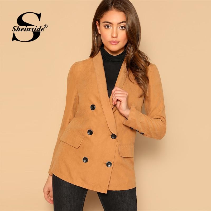 Blazer Sheinside Casual Orange Single Button Kerb Kragen Blazer Frauen 2019 Frühling Doppel Tasche Blazer Damen Solide Trim Blazer Anzüge & Sets