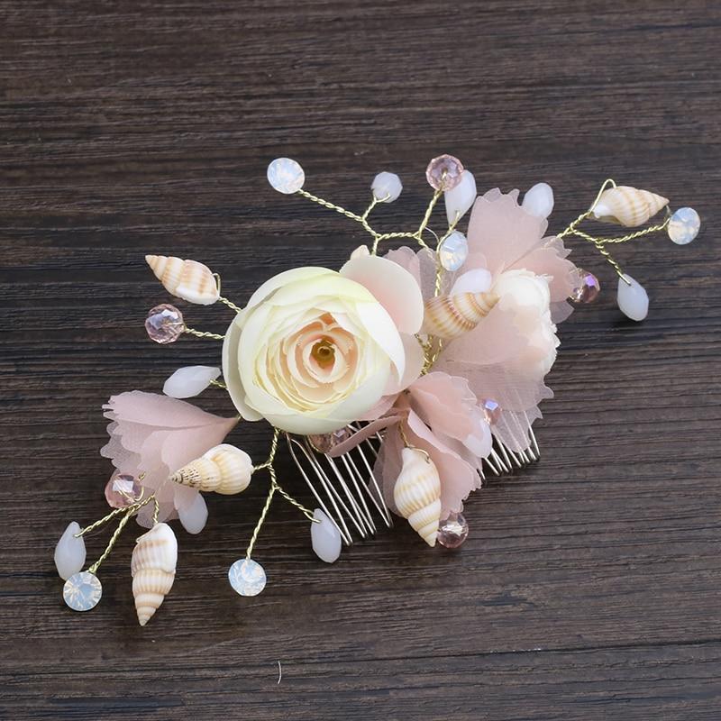 Trendy Pink Hair Combs Crystal Shell Hair Jewelry For Bride Yarn Flower Handmade Women Wedding Women Hair Accessories Ornaments