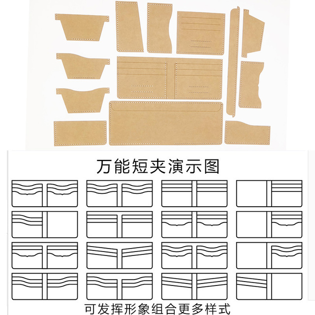 13 piezas Universal cuero estilo corto clips dinero bolsa de carpeta ...