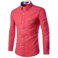 2017 Nueva Marca Para Hombre Casual camisa A Rayas Slim Fit Hombres de la moda camisa a cuadros de manga larga de Algodón camisas de vestir para hombre chemise homme XXL