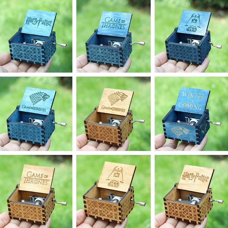 Antique Carved wooden Harry Potter Music Box Game of thrones Hand operated Musical Boxes star wars Caja de musica drop shipping
