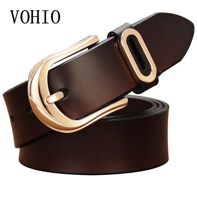 fcea12d756cb VOHIO High Quality Ceinture Femme Strass Leather Belt Gold Buckle Push Up  Jeans Female Retro Deco
