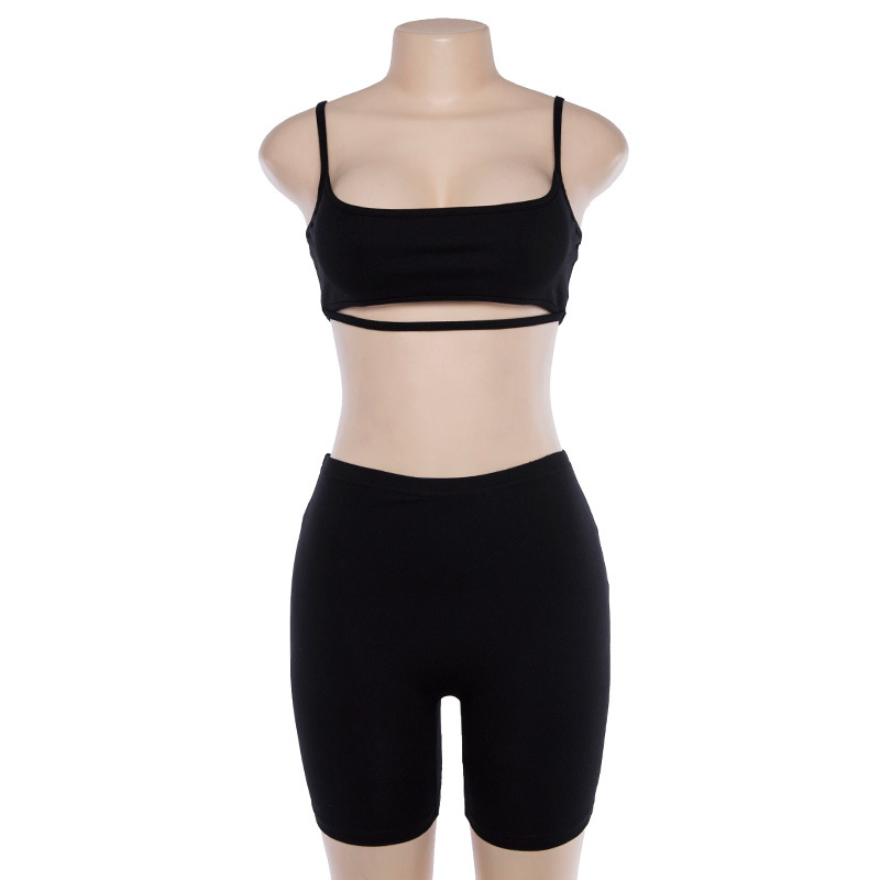 BOOFEENAA Sexy Short Two Piece Set Crop Tops and Biker Shorts Grey Black Bodycon Matching Sets Summer Clothes for Women C83-BB14 6