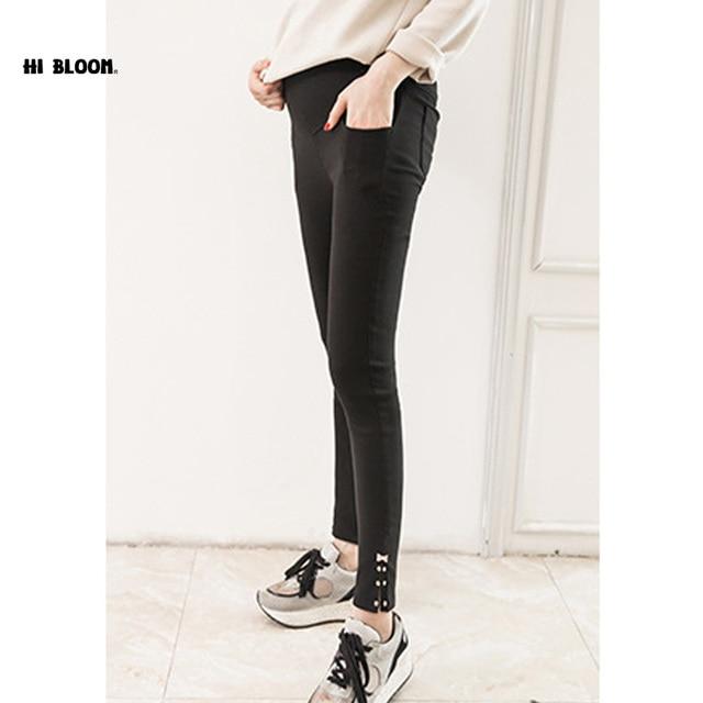 Elastic Waist 100% Cotton Maternity Jeans Skinny Belly Pants For Pregnant Women Black Maternity Leggings Pocket Trousers Overall