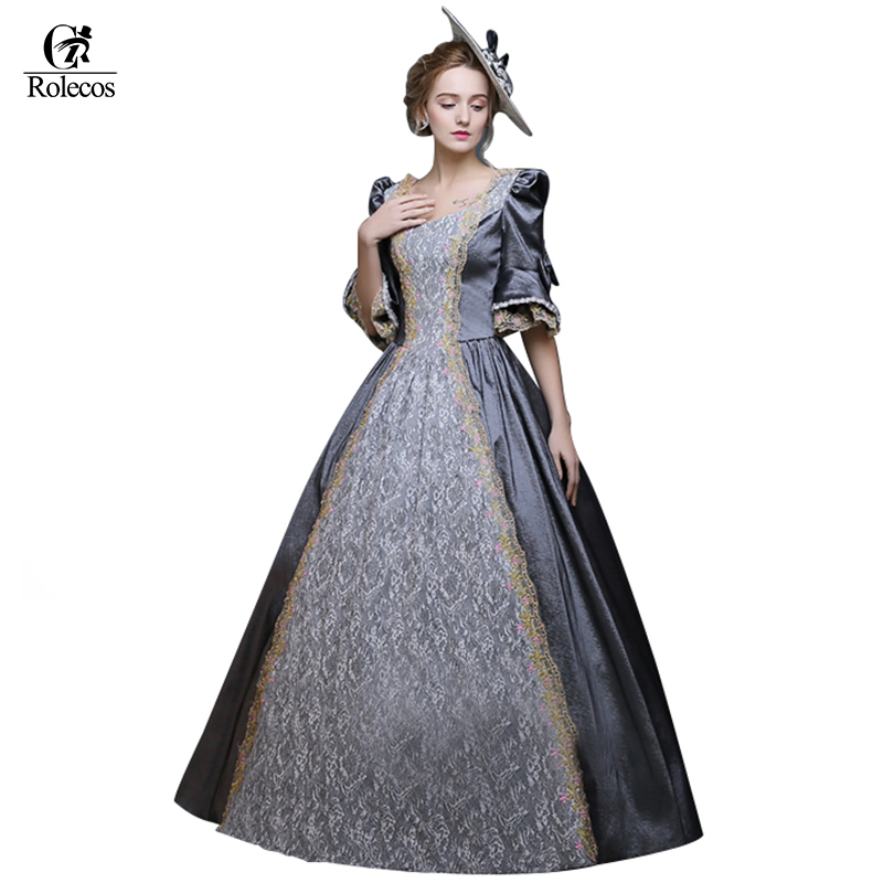 Rolecos Women Retro Medieval Renaissance Victorian Dresses Princess Ball Gowns Dresses Masquerade Costumes