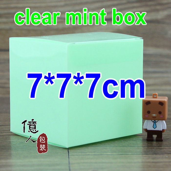 10 pcs/lot7*7*7cm clear green purple rose color box /mint color / pvc plastic / Christmas gift package / plastic containers