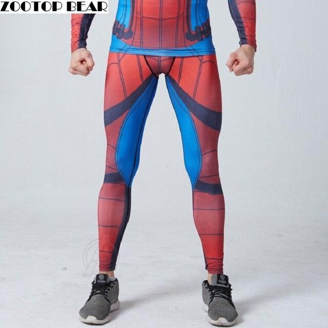 Spiderman Pants Novelty Men Pants 2017 Compression Fitness Pants Elastic Trouser Skinny legging Bodybuliding ZOOTOP BEAR