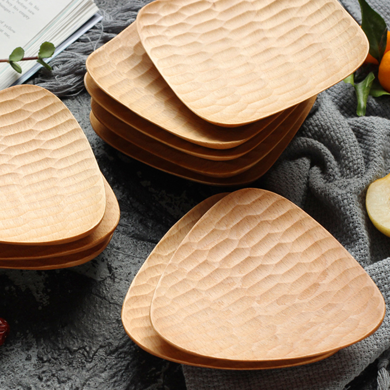 Natural Hand-made Wooden Plate Small Wood Trays Mini Deesert Snack Cake Dishes Serving Plates Wooden Tableware Kitchen Utensils (2)