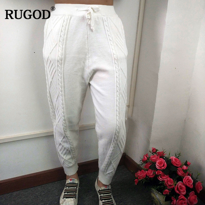 RUGOD Fashion New Solid Lace-up Women Trousers Soft Elastic Waist Loose Pants Warm Stretchable Knitted Pantalones Mujer
