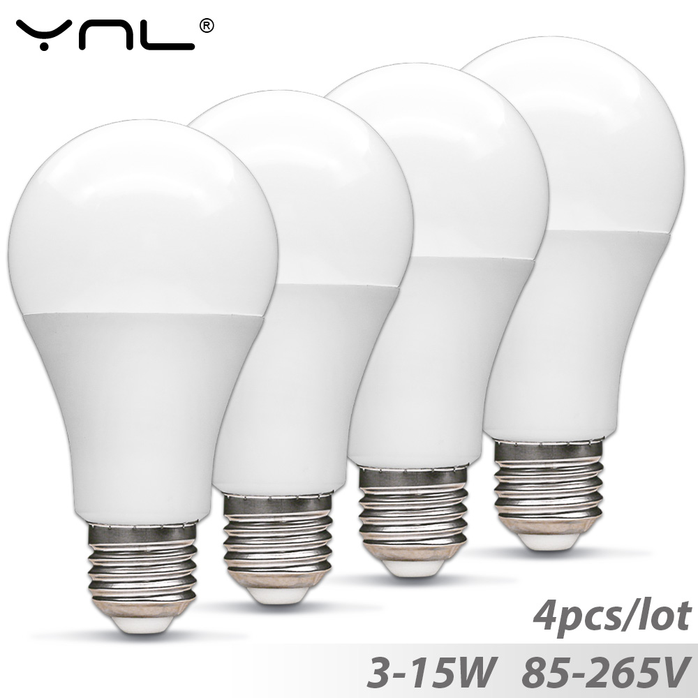 4PCS Lampada E27 Led Light Bulb 3W 5W 7W 9W 12W 15W 220V 110V 85-265V Top Quality Bombillas Led Spotlight Light