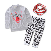Children Sets for Girls Fashion 2018 New Style Suits T-shirt + Pants Headband 3pcs. Suit