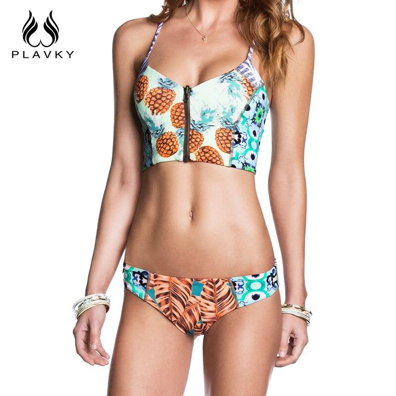 Female Sexy Pineapple Swimsuit Zipper Corset Biquini Thong Swim Wear Bathing Suit Swimwear Women Brazilian Push Up Bikini