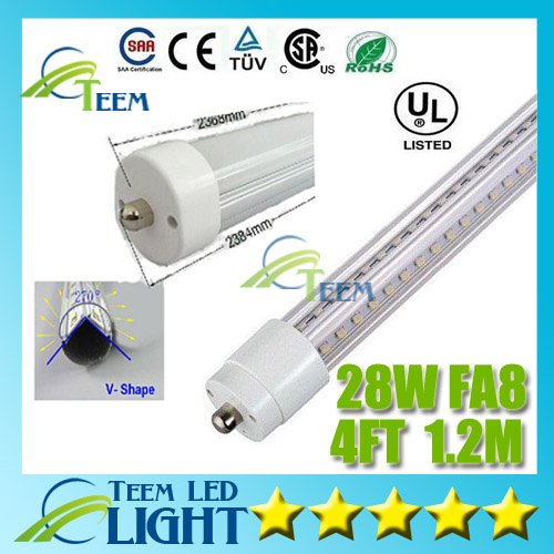 CE UL DLC V-Shaped T8 FA8 Led Tube Light 4FT 28W 1.2m AC 85-265V Cooler Door SMD2835 Led Fluorescent Double Sides Glow tubes t8 led tube 1200mm light 18w120cm 4ft 1 2m g13 with holder fixture high power smd2835 fluorescent replacement 85 265v