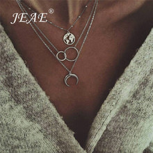 Bohemian Wanderlust Gypsy Necklace For Women Silver Color Chain Layered Choker C