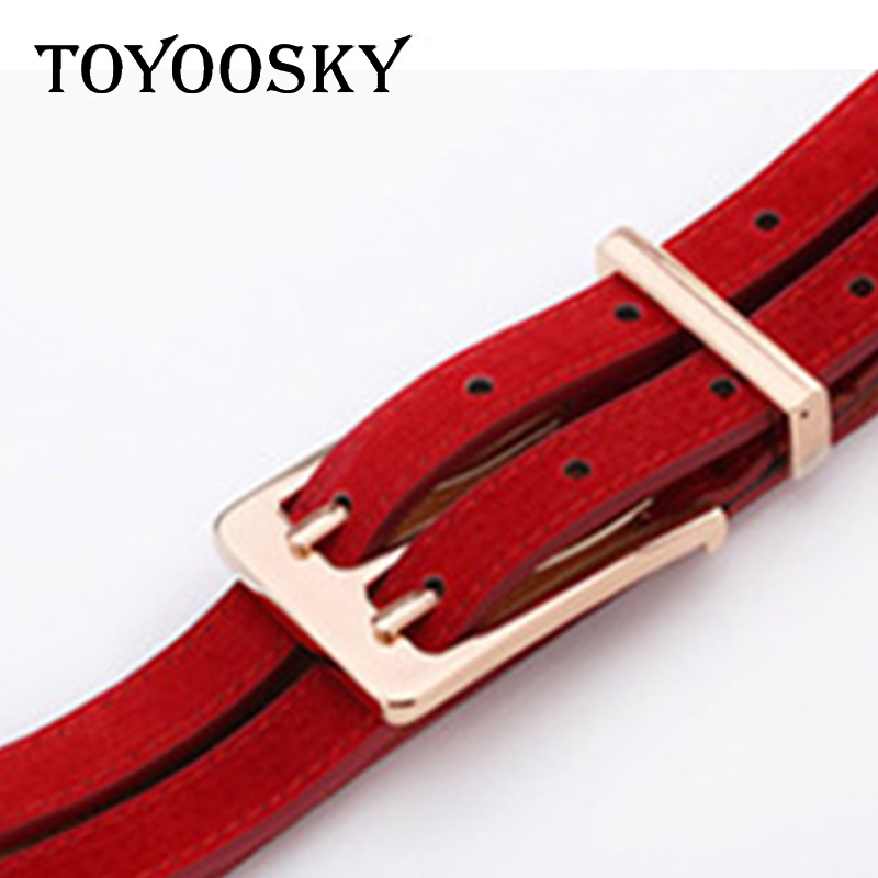 TOYOOSKY Genuine Leather Pigskin Women Belt Double Patchwork Fashion Double Pin Buckle Belts for Women Jeans Luxury High Quality in Women 39 s Belts from Apparel Accessories