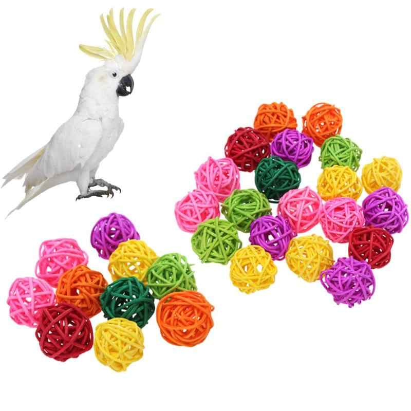 10/20pcs Rattan Balls Parrot Bird Toys Interactive Bite Chew Toys for Parakeet Budgie Cockatiel Cage Accessories