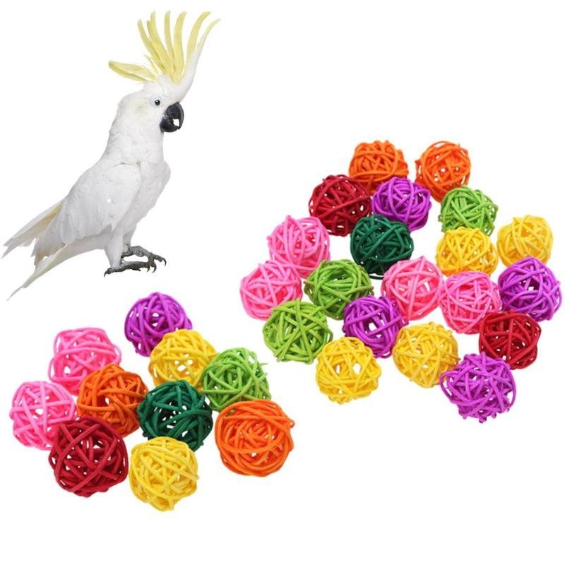US $1 14 20% OFF|10/20pcs Rattan Balls Parrot Toys Bird Interactive Bite  Chew Toys for Parakeet Budgie Cage Accessories Bird Playing Toys-in Bird  Toys