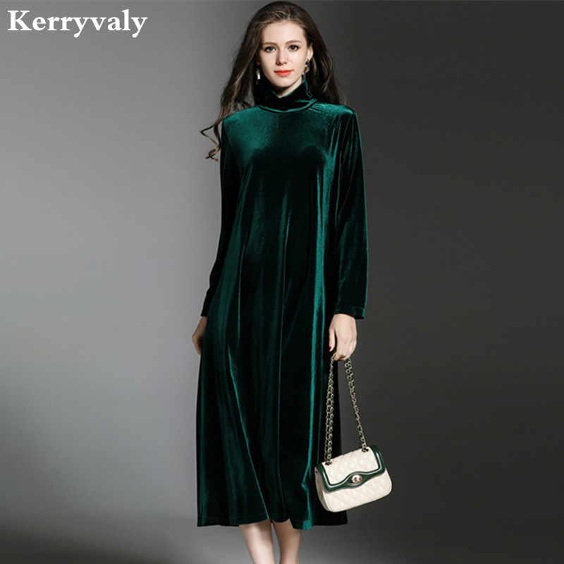 14d4776eb7 Women Loose Turtleneck Winter Velvet Dress Vetement Femme 2019 Vestido De  Festa Long Sleeve Green Vintage