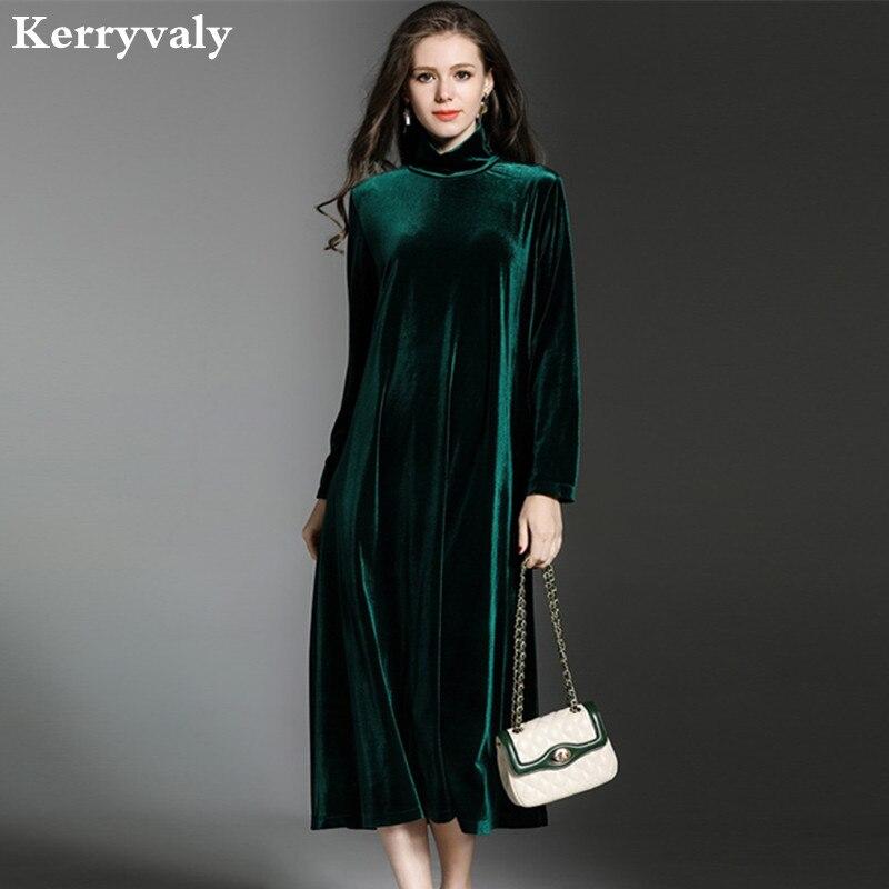 women loose turtleneck winter velvet dress vetement femme 2018 vestido de festa long sleeve. Black Bedroom Furniture Sets. Home Design Ideas