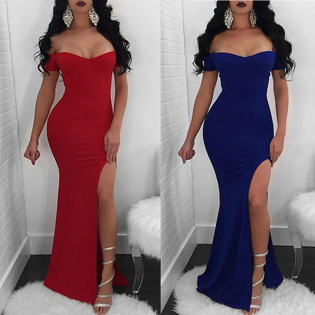 8c49183b6b02 European stylish off shoulder dress short sleeve high split women long maxi  dress summer mermaid bodycon dress L0167
