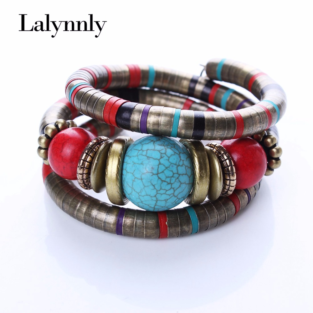 Fashion Armbånd Bangles For Women Tibetanske Armbånd Og Bangles Stone Inlay Roundness Bead Juster Bangle B02291